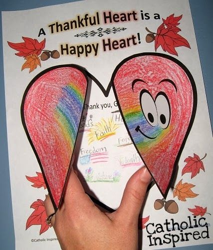 Thankful Heart Worksheet and Art Project - Catholic Inspired