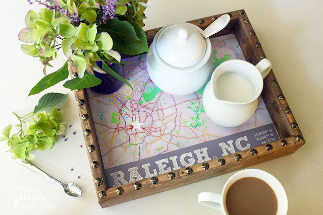 Make a rustic Map tray, could really use any location to customize it! From Pretty Handy Girl