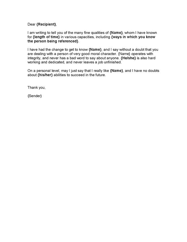 Letter of Good Character Template Character Reference - Hashdoc - character letter of recommendation