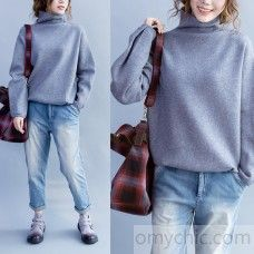 Light gray womens cashmere sweaters long sleeve knitted sweater chunky style