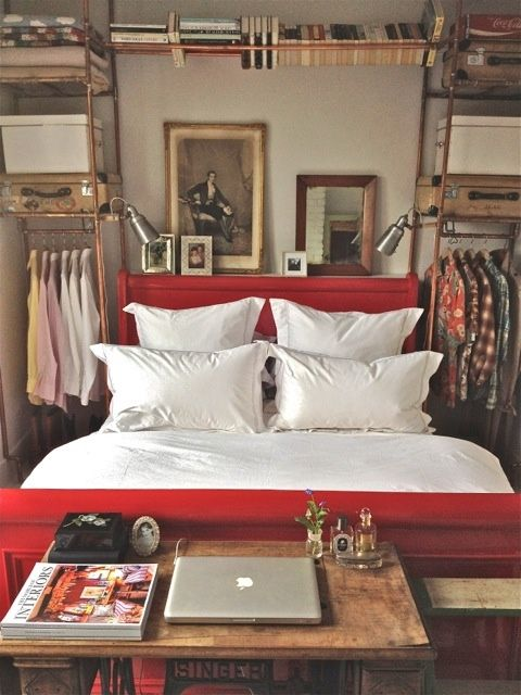 Industrial Chic Bedroom With Copper Piping Shelving, Vintage Details And A  Red Bed Part 11