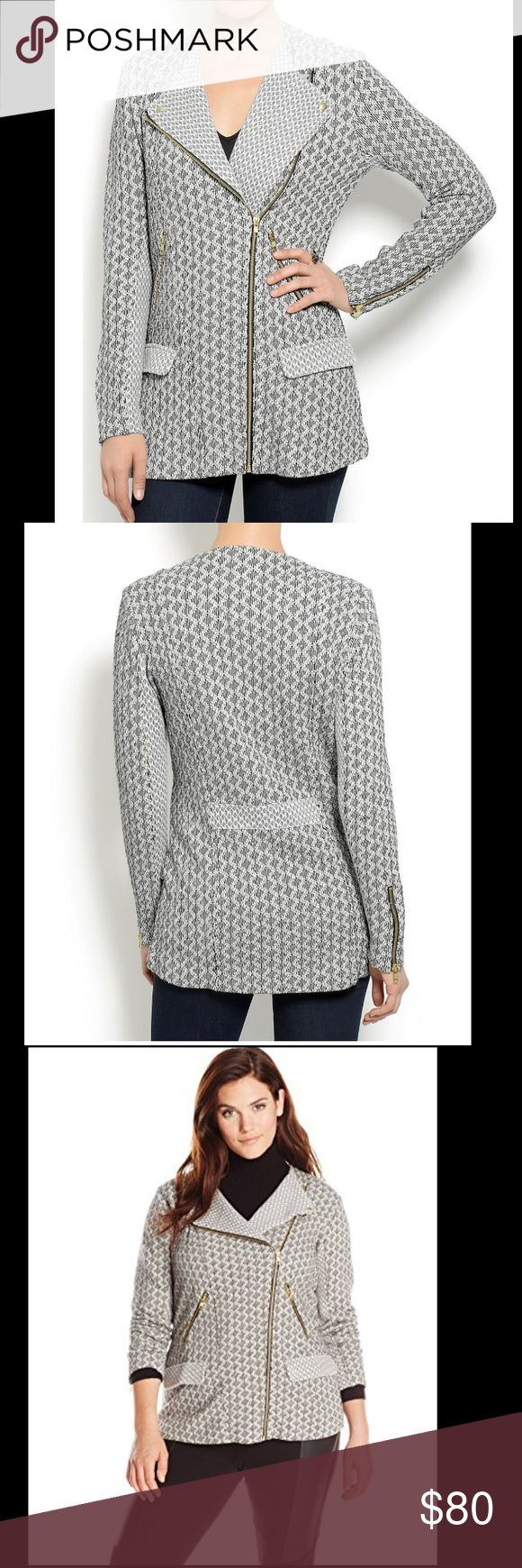Zip Lucky Brand Marnie Long Active Jacket, XL **WORN ONLY ONCE!!!** Lengthy sleeve knit jacket with multi-coloured print. Zipper main points, with aspect wallet.  Complete zip Lucky Brand Women's Marnie Long Active Jacket, Black/White, XL 100% cotton Lucky Brand Jackets & Coats