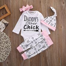 Bebê recém-nascido Meninas Meninos Roupas Set Garota Tops Calças Chapéu Romper Manga Longa de Algodão Roupas Set Roupas 4 pcs Bebê roupas alishoppbrasil