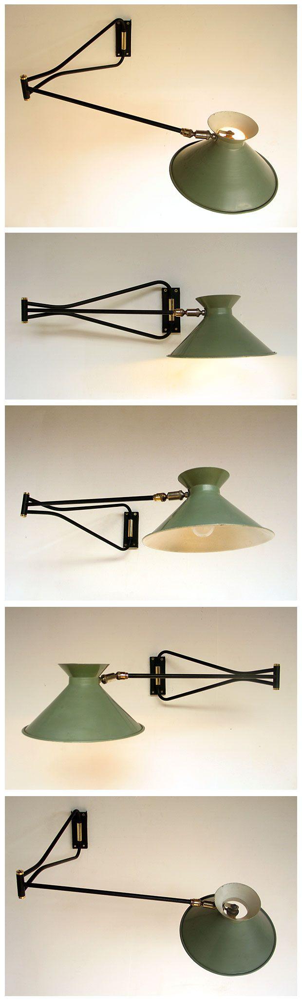French industrial swing lamp Pierre Guariche 1950