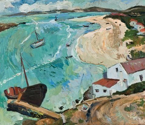Artwork by Irma Stern, A VIEW OF SALDANHA BAY, Made of oil on canvas