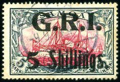 German Colonies Samoa British Occupation 1914 German Colonial Issue 5s on 5m violet-black, used, tone spots, scarce (SG 114, £1'200) (Mi. €1'500), signed Roumet & cert. A.Diena (196...