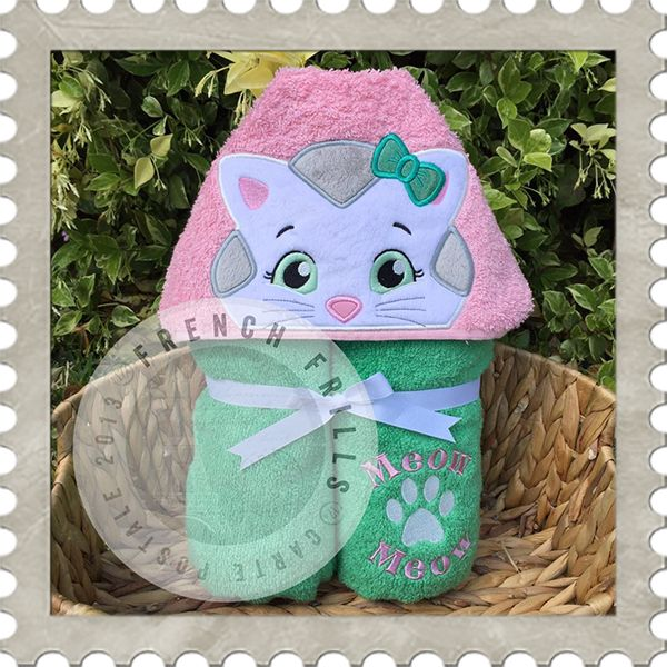 Girl Kitty Hooded Towel Design Embroidery Applique Tv