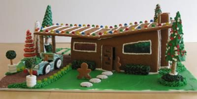 2008_LS_gingerbread_modern1: My niece and I decided to make architectural improvements to our 2007 mid-century modern gingerbread house model by adding glass windows and a car port.