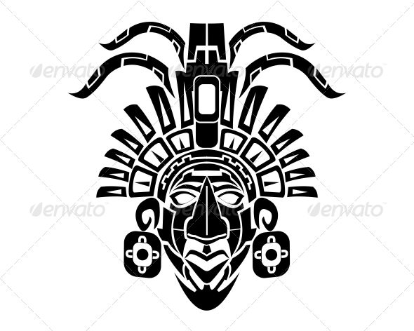Mayan Mack Tribal Tattoo — Vector EPS #tattoo #mask • Available here → https://graphicriver.net/item/mayan-mack-tribal-tattoo/6761922?ref=pxcr