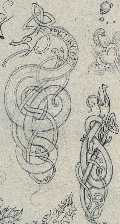 Sketches from a meeting at work. NB: the bigger dragon is wrongly drawn, the coils should go under-over-under-over etc all the time! They are drawn in the Urnes-style, which is late Viking age arou...
