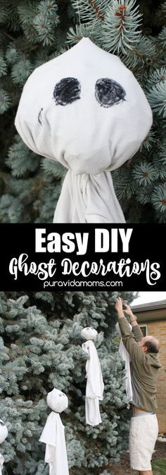 These adorable diy ghost decorations can be made in less than 20 minutes with things you