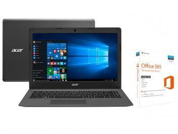 Notebook Acer Aspire One Cloudbook Intel Dual Core - 2GB 32GB LED 14 Windows 10 com Office 365 Persona