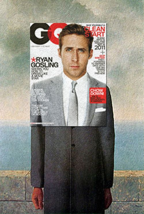 The Ryan of Man Ryan Gosling, GQ January 2011 + The Son of Man by René Magritte
