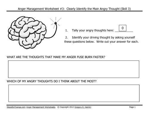 Worksheets Free Anger Management Worksheets 1000 images about anger management worksheets on pinterest worksheet 3 driving thought is one of the