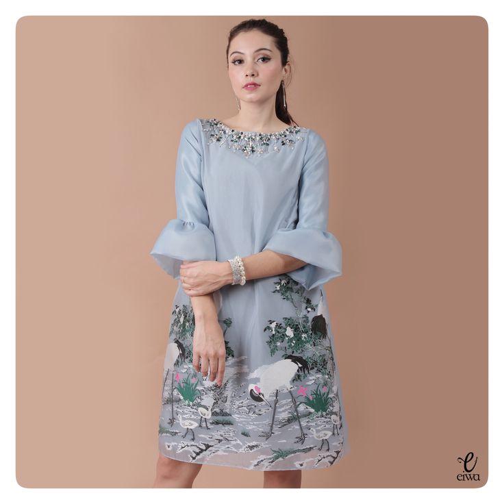 simple long sleeve lace top, kebaya modern indonesia brokat http://www.eiwaonline.com dress organza umbrella sleeve