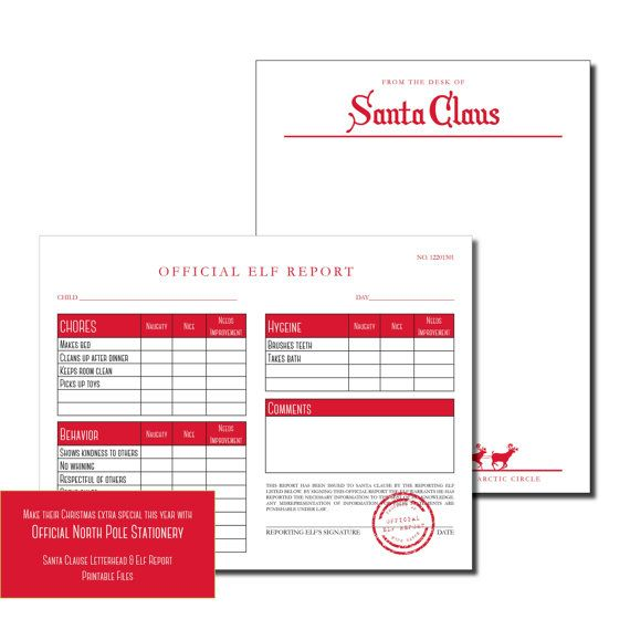 Official North Pole Stationery Santa Letter Head & Elf Report ...