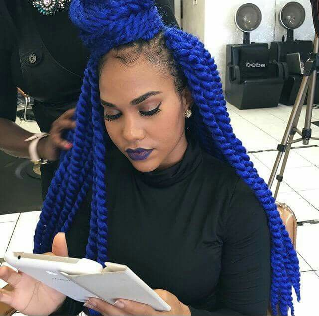 Box Braids Com Linha De Croche : crochet braids more crochet havanna twists box twists blue hair yarn ...