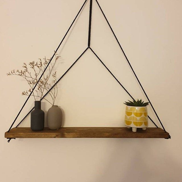 Hanging Wooden Shelf Floating Shelf Organizer Shelf Swing Etsy In 2020 Wooden Shelves Wall Hanging Shelves Plant Hanger
