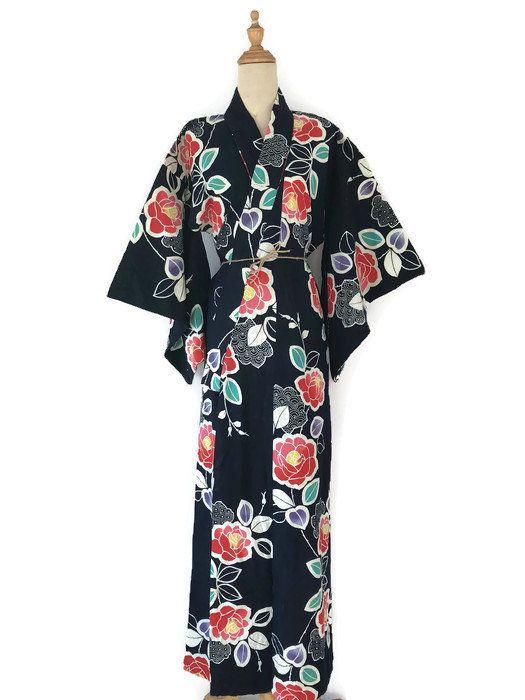 da883e48745 Vintage Japanese Kimono Yukata Floral Motif Long Robe Kimono   Summer Kimono  Komon Haori by VintageVictimMy on Etsy