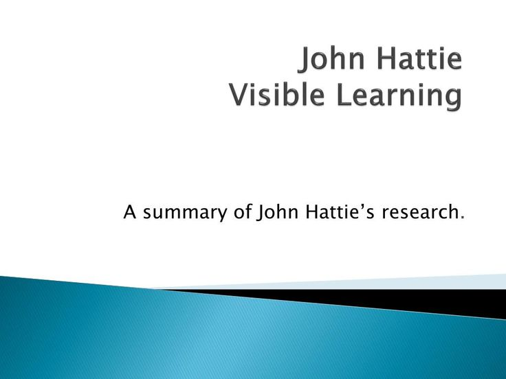 John Hattie Visible Learning - A summary of John Hattie's research. Slide show.