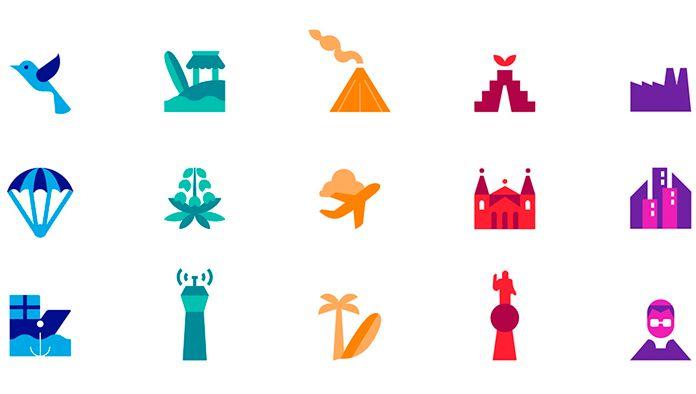 Zestaw ikon nowej identyfikacji Salwadoru