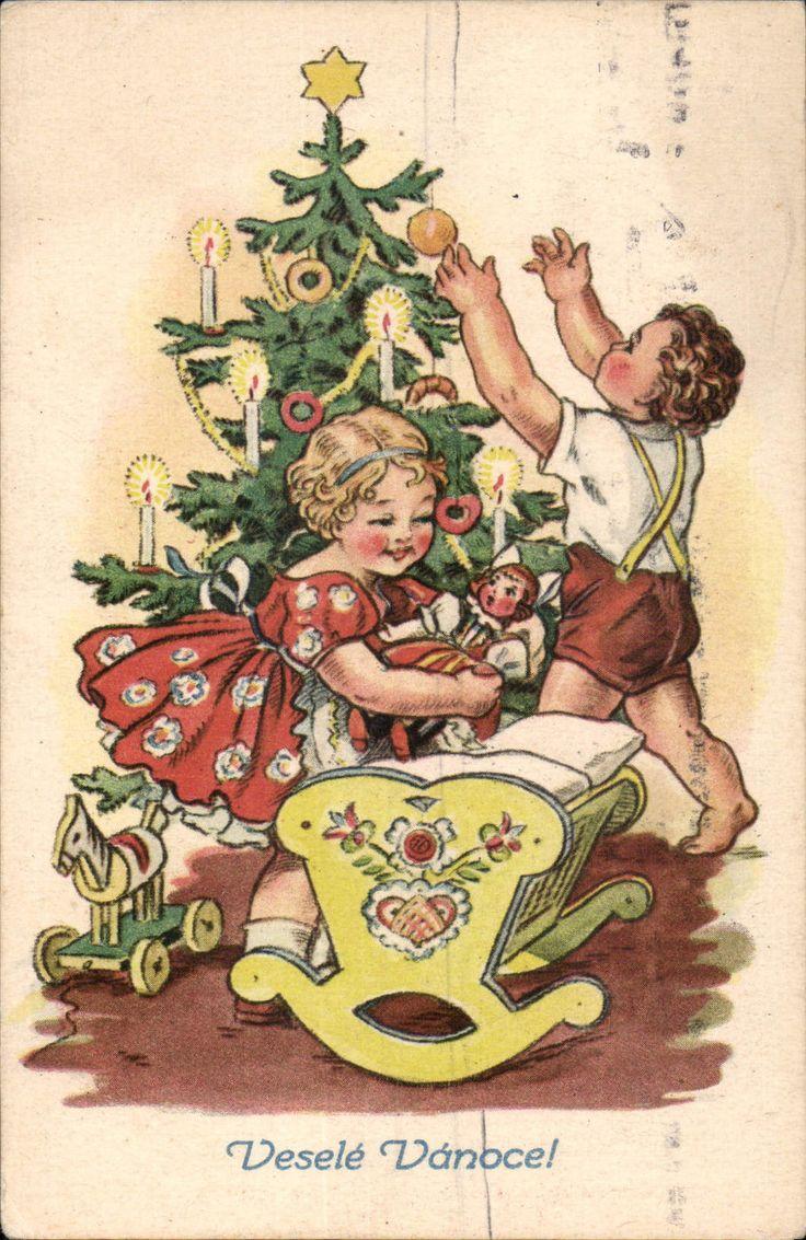 41723 Weihnachten - Kinder am Baum - Holzpferd, Puppenwiege • EUR 5,80 - PicClick DE