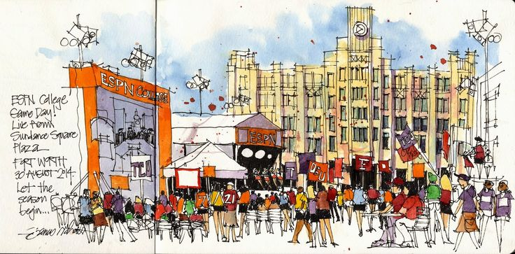 James Richards - College Game Day in Fort Worth! (Urban Sketchers)