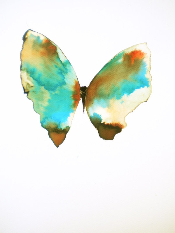 large turquoise green butterfly with rust red, brown and white gold patches. original painting.  via Etsy.