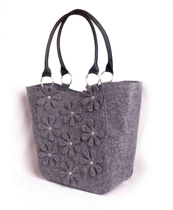 Grey felt bag Felted purse Womens felt handbag Diaper by volaris
