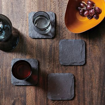 West Elm - Slate Coaster Set (4) - A clean slate. Slate Coasters in natural stone give tables and desks a contemporary edge. | #home #décor #accessories