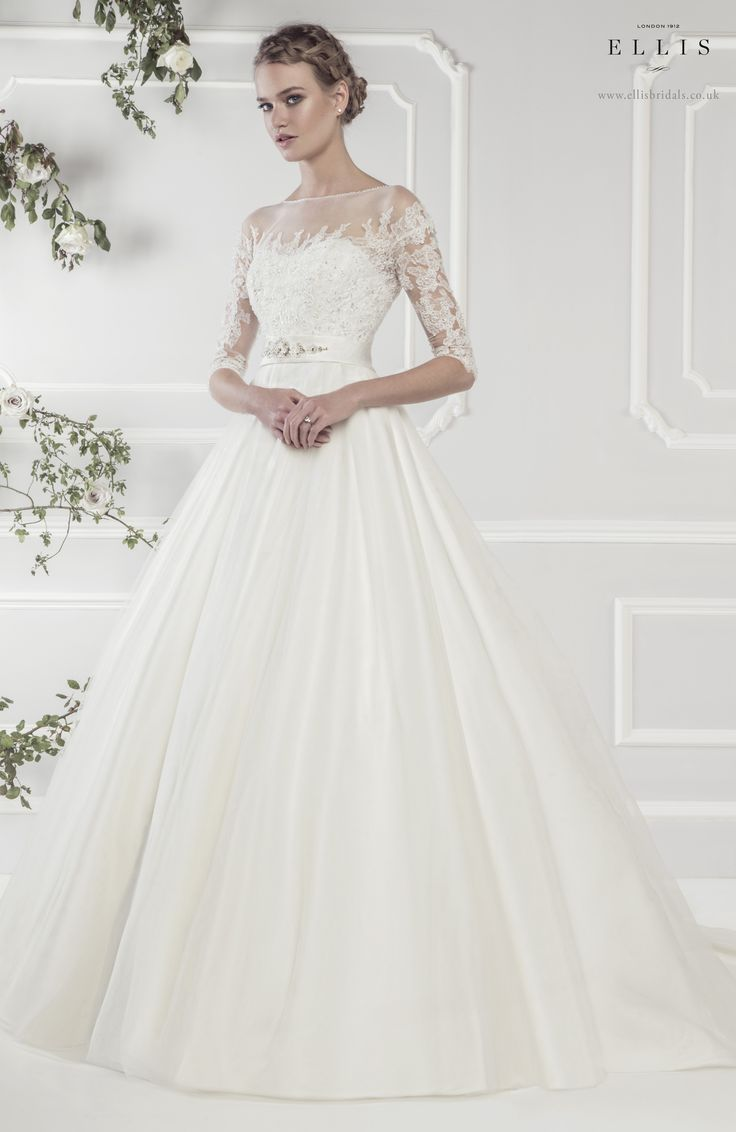 Ellis Bridals Rose wedding dresses collection 2015 :  Style 11424 'Luxurious Satin Full A-line Dress with Beaded Appliqué Lace and Embellished Satin Belt.'