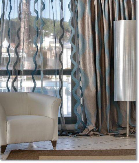 Cortinas, Diseño de interiores, Diseño textil, Robinson Fabrics, Drapes, Casa, Cuarto, Sala, Colores, Rayas, Formas, Textura