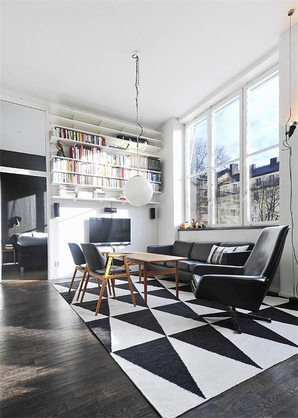: Living Rooms, Graphics Design Inspiration, Books Shelves, Black And White, Stockholm Sweden, Carpets Style, Interiors Design, Black White, Awesome Swedish