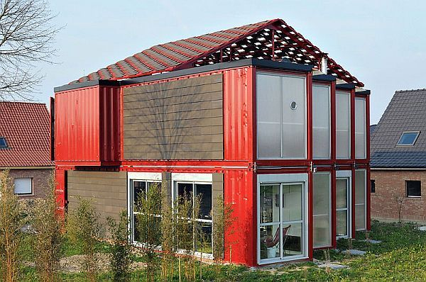 Maison Container by Patrick Partouche.    Now let's take a look at a more complex project. French architect Patrick Partouche designed in 2010 a place that although is build from cargo containers tends to imitate a traditional house. This contemporary house has approximately 2,240 square feet and cost around 221.000 euros to complete.