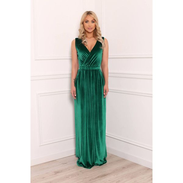 Green Velvet Maxi Dress Wrap Neckline Sleeveless Pockets Sash ($110) ❤ liked on Polyvore featuring dresses, pocket dress, wrap maxi dress, green velvet dress, pink dress and green maxi dress