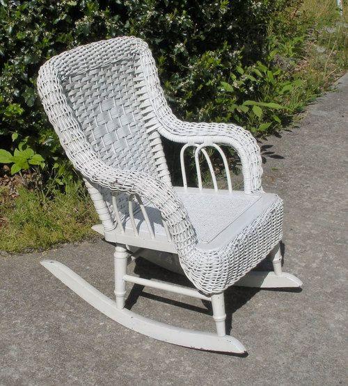 Vintage White Wicker Childs Rocking Chair