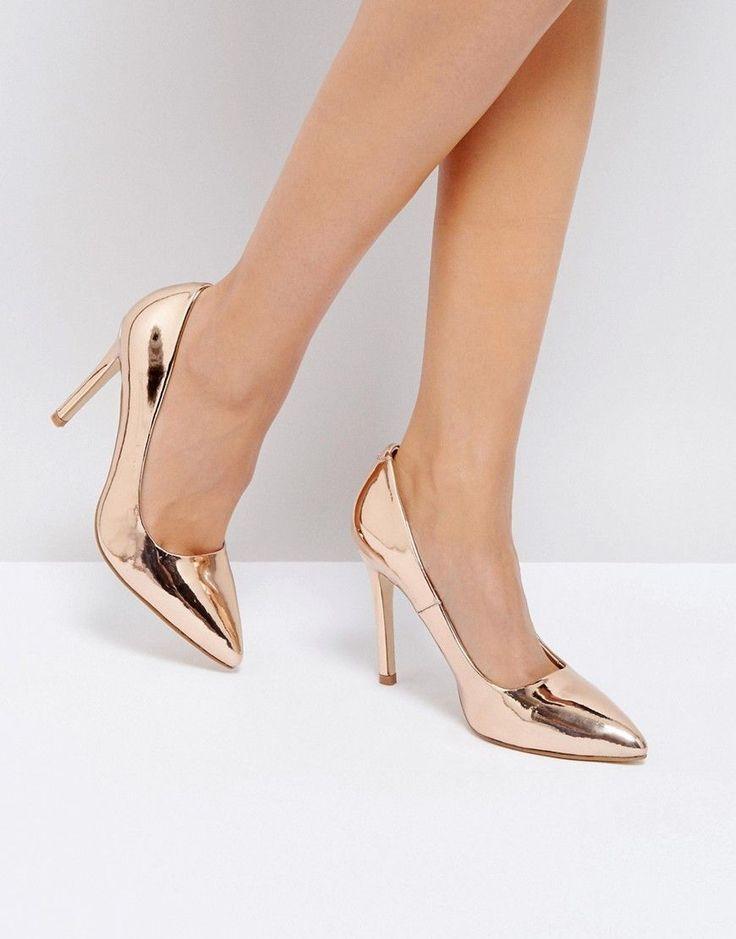 Truffle Collection Metallic Court Shoe Heels - Copper