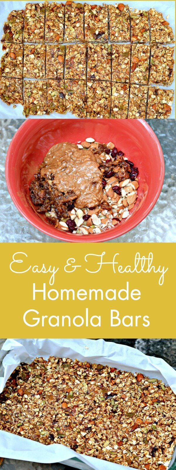 Kids and adults love these easy and healthy Homemade Granola Bars. Full of good stuff like oats, almonds, pumpkin seeds, cinnamon, dried fruit and more. Make a big batch, slice and store them in the fridge or freezer for an on the go snack.