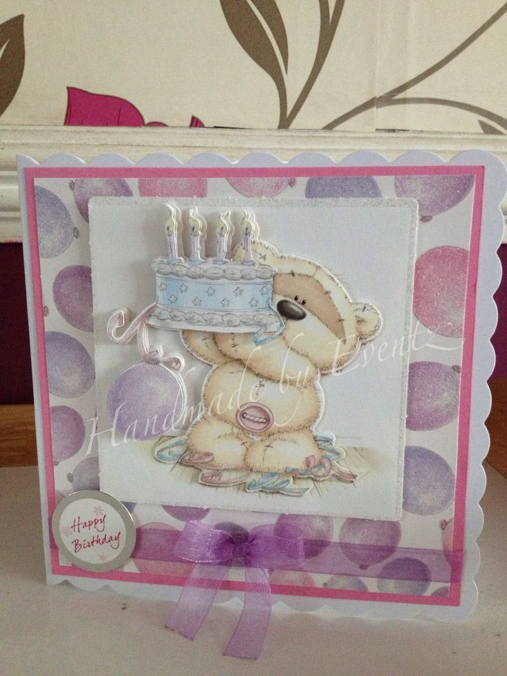 Fizzy Moon birthday decoupage card