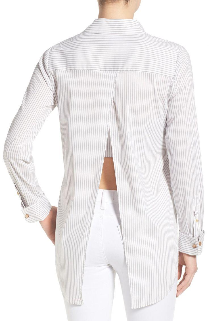 Olivia Palermo + Chelsea28 Stripe Open Back Poplin Shirt