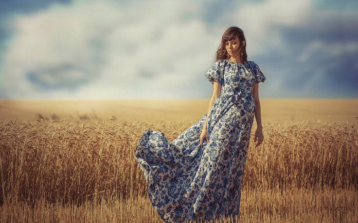 ветер, девушка, поле, лето, платье