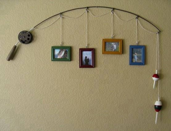 Make sports equipment that's no longer in use into hanging wall decor.