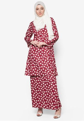 Baju Kurung English Cotton from Azka Collection in red_1