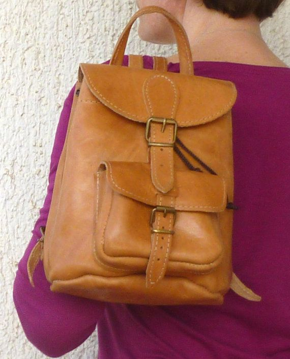 9367201256 Small leather backpack   Women natural (tan) leather backpack   Small  leather pouch