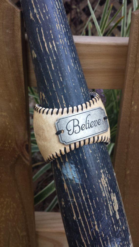 Hey, I found this really awesome Etsy listing at https://www.etsy.com/listing/203263902/handmade-baseball-bracelet-repurpsed
