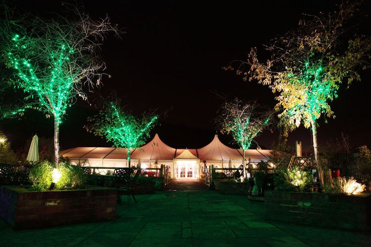 Night time shot of The Barnyard at Grove Farm.