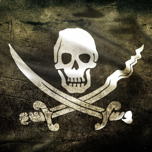 This was actually the pirate flag of Calico Jack Rackham who is remembered most because of the two women pirates in his crew, Anne Bonny and Mary Reed. C. J.