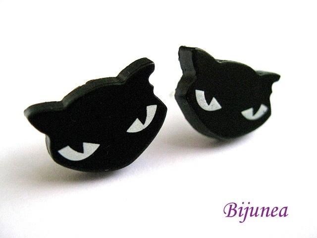 Bitte entschuldigen Sie, dass die Produktbeschreibungen nur in Englisch verfügbar sind.    Black cat stud earrings =)    This earrings measure abou...