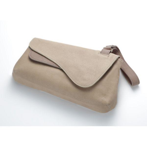 Beige Serena Asymmetrical Clutch Bag