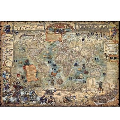 Puzzle 3000 pièces Rajko Zigic : Carte du monde pirate - Heye-29526-58278